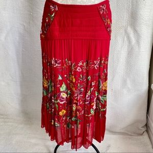 Anthro VTG 90s Boho Flower Print Embellished Skirt